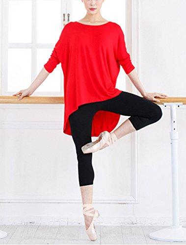 Blusa Suelta De Talla Grande Camisa De Manga Larga De Murciélago Yoga Camiseta Mujeres Negro Rojo