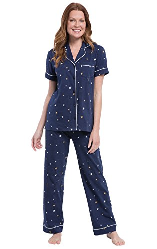 PajamaGram Pajama Sets for Women Cotton - Women's Pajamas Sets, Navy, S, 6-8 ()