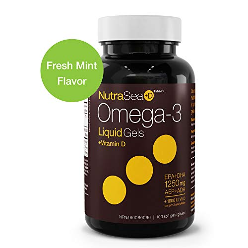 Nature's Way NutraSea+D, Omega 3 + Vitamin D Supplement, Fresh Mint, 100 Soft ()