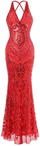 Gaine Col Rouge Deco Paillette Longue Robe Soiree de V Angel fashions Licou Art Femme Y6q81