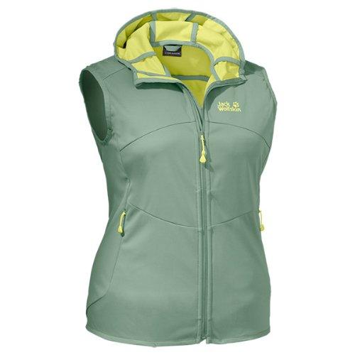 Jack Wolfskin Damen Softshellweste Sonic Dance Vest Women, Opal Green, L, 1302301-4028004