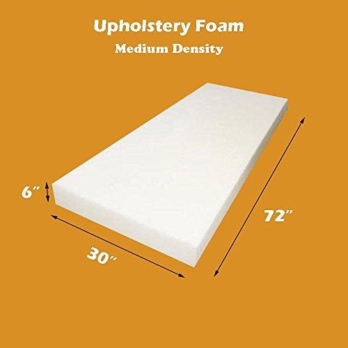 "Mybecca 6"" X 30""x 72"" Upholstery Foam Cushion Medium Density (Seat Replacement , Upholstery Sheet , Foam Padding) -  M6-30-72"