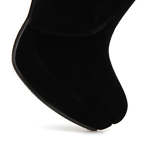 AllhqFashion Damen Rein Blend-Materialien Hoher Absatz Reißverschluss Stiefel Schwarz