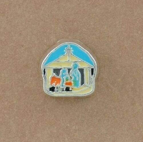 Pendant Jewelry Making Nativity Scene Mary Joseph Jesus Enamel Silver Floating Charm for Memory -