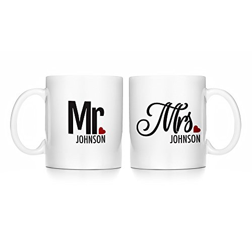 - Eve's Addiction Personalized Mr. and Mrs. Couples Mug Set