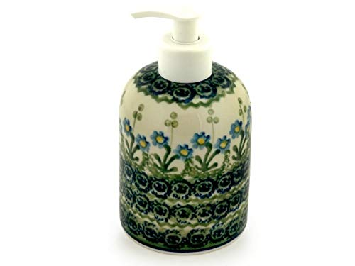 (Polish Pottery 5½-inch Soap Dispenser Made by Ceramika Artystyczna (Blue Daisy Circle Theme) + Certificate of Authenticity)