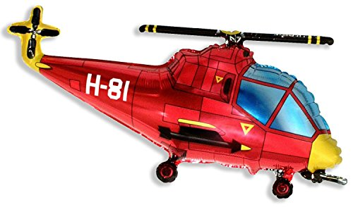 Grabo 37 Inch Red Helicopter Shaped Foil Balloon (cs19)
