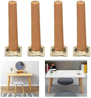 Juego de 4 Patas de Muebles de Madera Maciza,Patas de Repuesto,para Mesa /Armario/Mesa de Centro/Banco/Estantería/Mueble de TV,con Accesorios de Montaje(55cm/21.65in): Amazon.es: Bricolaje y herramientas
