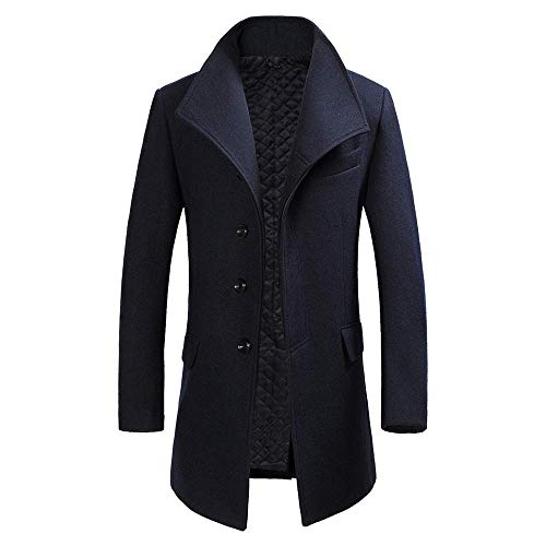 (INVACHI Mens French Woolen Coat Slim Fit Winter Trench Coat Gentlemen Long Overcoat Pea Coat )