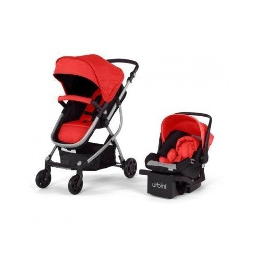 Urbini Omni 3 In 1 Travel System Convertible Pram Stroller Infant Carrier Car Seat With Base Red