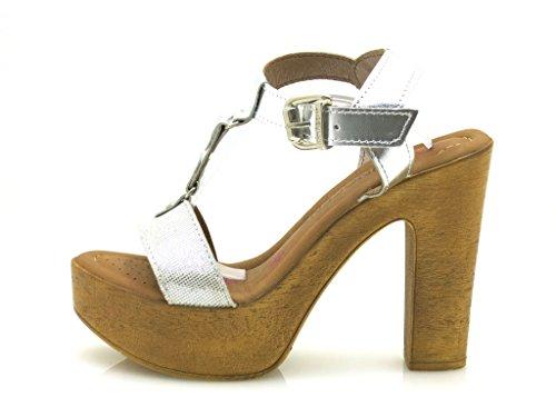 T ss02 Femmes bande Chaussures Talons Innocentes 188 À Haut De En Prata Sandales Cuir HWxqz7TH