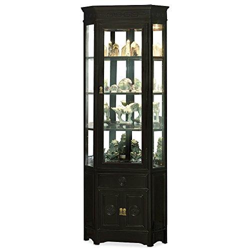 ChinaFurnitureOnline Rosewood Corner Cabinet with Black Ebony Finish and Longevity Motif