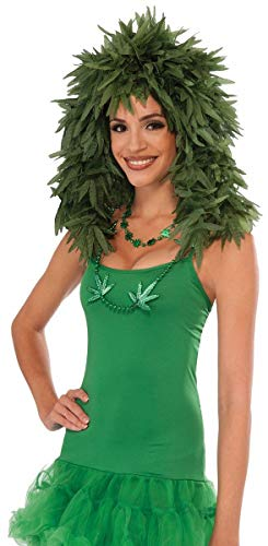 Cannabis Leaf Adult Costume Wig Green