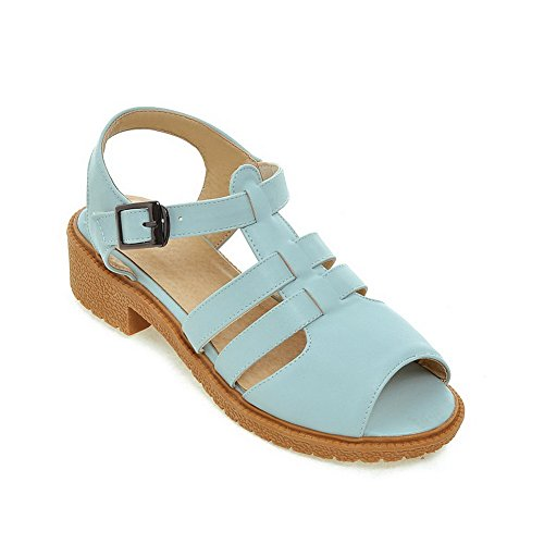 VogueZone009 Sandals Blue Heels Soft Women's Material Solid Low Peep Buckle Toe rzr4q