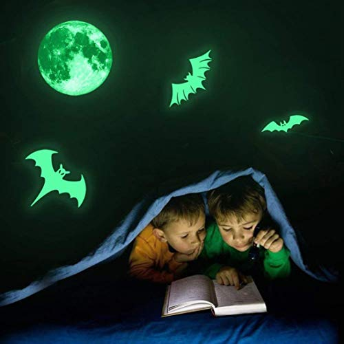 P/b Decorative Glass Doors - Creazy Spooky Moon Bats Fluorescent Luminous Sticker Night Glow Decal Wall Halloween