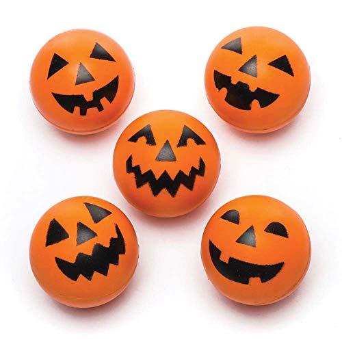 Baker Ross Pumpkin High Bouncy Balls (Pack of 5) for Kids Halloween Party Bags Fillers ()