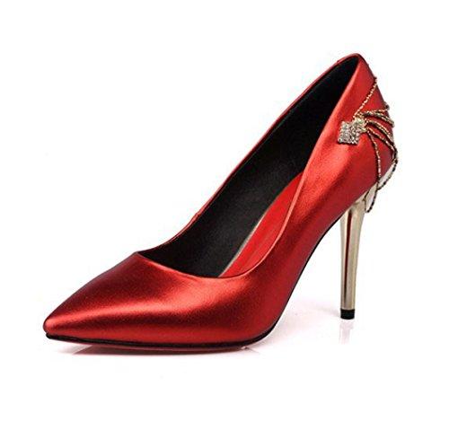 Zapatos De Tacón Alto Elegantes Del Dedo Del Pie Rojo De Las Mujeres Para Los Zapatos De Tacón De Aguja Del Banquete De Boda,Red-EU:36/UK:4