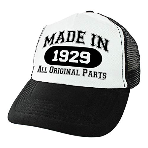 90th Birthday Gifts Made in 1929 All Original Parts Bday Hat Turning 90 Birthday Party Trucker Hat Black ()