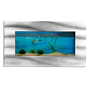 AQUARIUM mural 590x325x110 mm, design, alu/verre: Amazon.fr ...