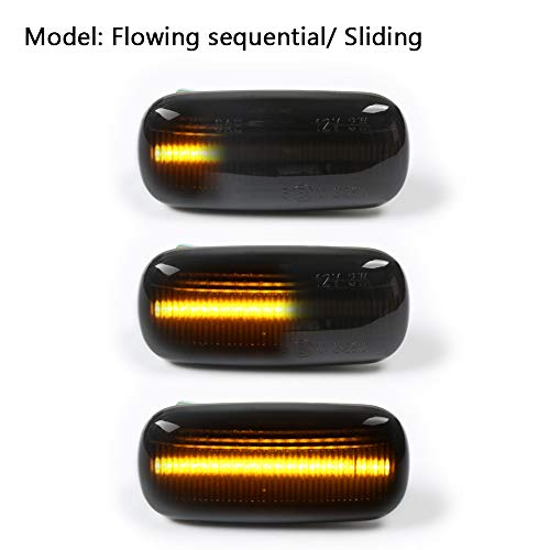 GemPro 2Pcs Dynamic Amber LED Side Marker Turn Signal Light For Audi A4 S4 B6 B7 A6 C5 TT A8, Replace OEM Side Marker Light