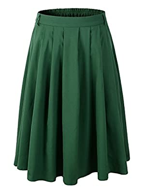 1950s Vintage Rockabilly Swing A-line Pleated Skirt