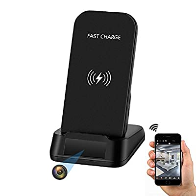 Spy Camera WiFi Hidden Camera,10W Fast Wireless Charger by KAPOSEV,1080P Home Spy Nanny Cam with Smart Motion Detection Alarm,IOS/Android APP Remotely Watch and Live View and Record Video