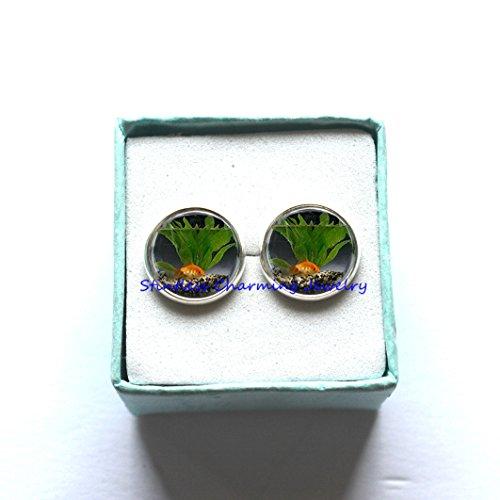 Fish Earrings, Goldfish Bowl, Fish Jewelry,Fish Bowl Art Earrings ,fish bowl jewelry,goldfish Earrings,fishbowl Earrings,best friend Earrings