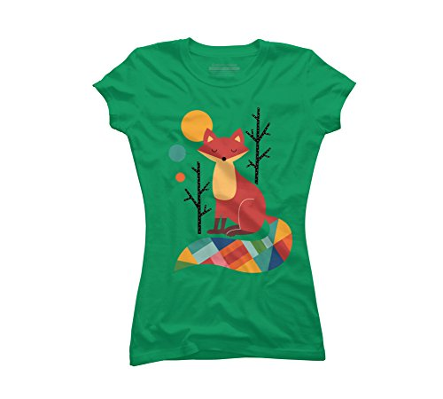 Design By Humans Rainbow Fox Juniors' X-Large Kelly Green Graphic T - Design Rainbow Green