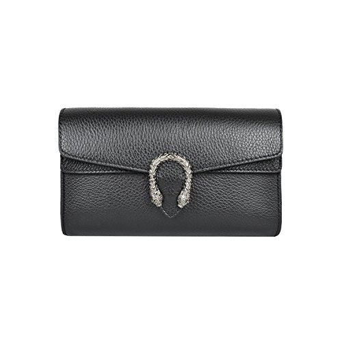 RACHEL PEBBLE Italian leather women's super shoulder handbag flap cross-body bag metal chain bag pebble grained leather (CLUTCH Black) by MYITALIANBAG