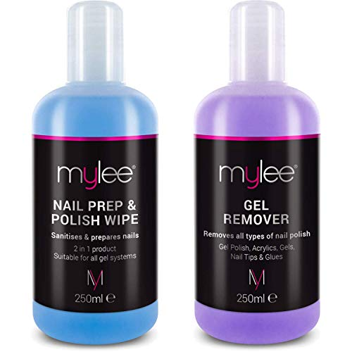"""Mylee""""Prep + Wipe"""" Gel-Nagellackreiniger und Reinigungsmittel für UV/LED-Maniküreazeton 2x250ml"""
