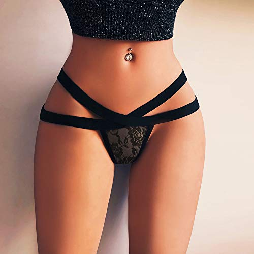 Valentine's Day Ninasill Woman Large Size Sexy Tight Hollow Mesh Lace Belt Sexy Thong Panties Erotic Underwear Black by Ninasill Erotic underwear (Image #2)
