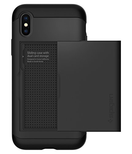 Spigen Slim Armor CS iPhone X Case with Slim Dual Layer Wallet Design and Card Slot Holder for Apple iPhone X (2017) – Black