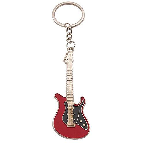 - Wang Zhai Red Guitar Keychain for Men Mini Cute Bass Key Chain Ring for Kids High-end Car Keyring Electric Guitar Key Holder