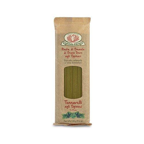 Rustichella d'Abruzzo Durum Wheat Spinach Tonnarelli (Spaghetti) Pasta - 17.6 oz (2 Pack)
