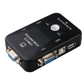 Switch KVM - 2 ordenadores en 1, teclado, ratón, monitor, USB, VGA: Amazon.es: Electrónica
