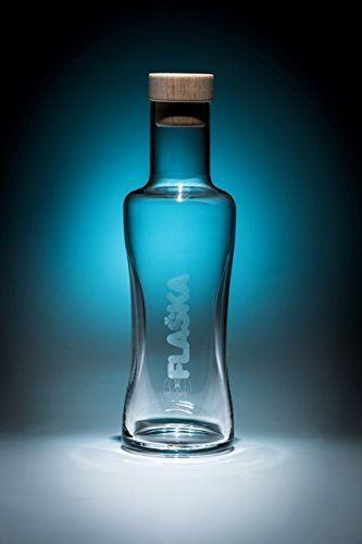Flaska Spring Water 33-Ounce Programmed Glass Bottle with Wood Cap for Home use by FLASKA
