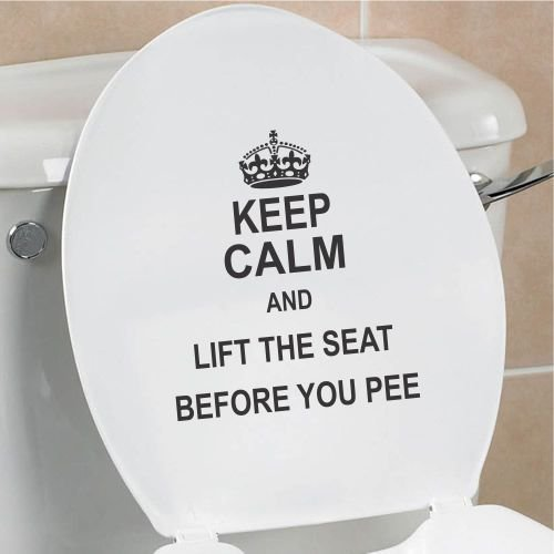 Keep Calm and lift the seat before you pee funny toilet seat bathroom home vinyl decal sticker