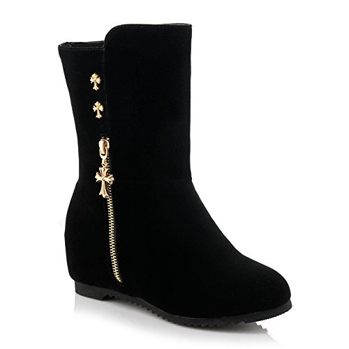 BalaMasa Ladies Heighten Inside Metal Ornament Pull-on Frosted Boots Black K0JhucGUdY