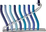 Yair Emanuel Anodized Aluminum Lyre Design Hanukkah Menorah - Blue (HMN-3)