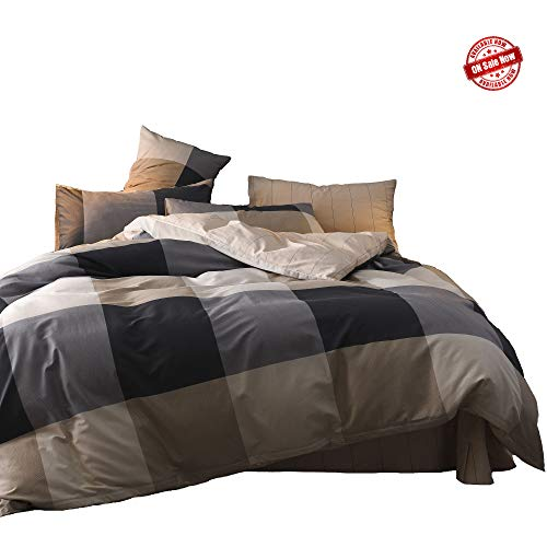 Jane yre Geometric Grey Plaid Pattern Duvet Cover Set Queen Size 100% Cotton for Kids Boys Men Luxury 3 Piece,Reversible Gray Striped Duvet Cover Sets with Hidden Zipper(No Comforter)