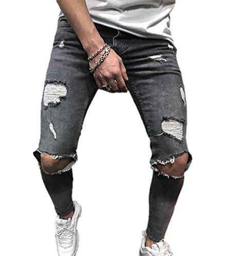 Fibroso Hombres los Denim Huateng Brillante Gris Pantalones Bursted Jeans Hombres de gastados Jeans Flaco Estiramiento Rodilla Flaco Forma wXwZqdU