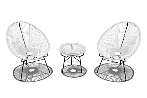 Harmonia Living HL-ACA-3CS-WLB 3 Piece Acapulco Chat Set, White Lightning
