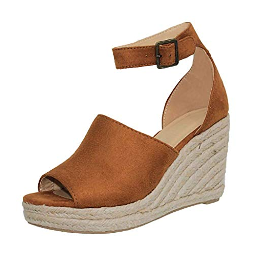 Women's Platform Sandals Espadrille Wedges Ankle Buckle Peep Toe Chunky High Heel Comfortable Summer Sandals 2019 Brown