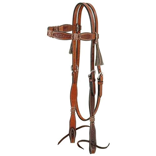 Tough 1 Browband Headstall with Braided Rawhide and Horsehair Tassels, Medium Oil