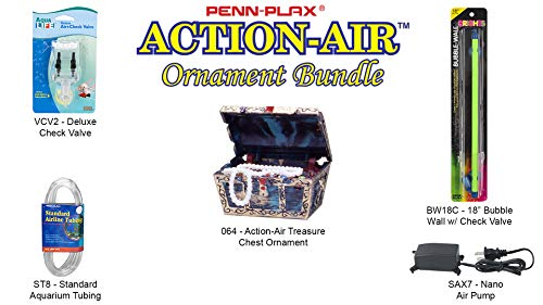 (Penn Plax Action-Air Ornament Bundle Gift Set - Comes with Air Pump, Tubing, Bubble Wall, Gang Valve, and Action Ornament for Your Aquarium (Treasure Chest))