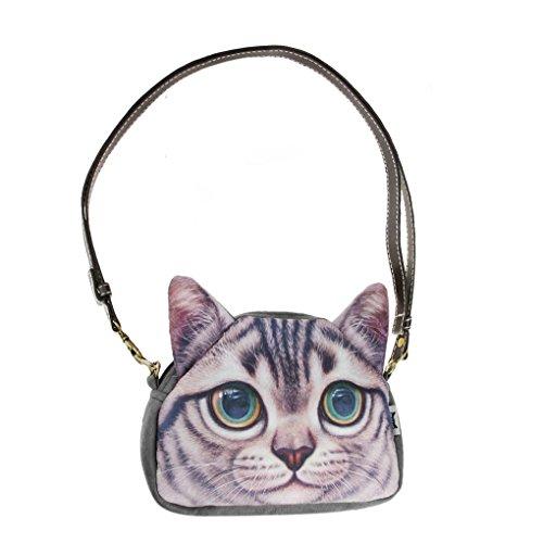 Mujeres Señoras Niñas Cute Cara de Gato Cara Animal Tema Bolso Lovely Cat Head Bolso de Estilo Crossbody Bolsos de Compras Embragues Grey Eyes