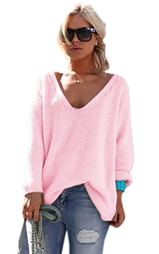 Beaucoup V de Clair Col Manches Pull Couleurs Longues Rose 617 Pullover Jumper Femme Sweater Mikos I4FzW