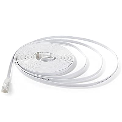 Hexagon Network - Ethernet Cable Cat6 Flat 25ft White, Network Cable Cat 6 Flat Slim Ethernet Patch Cable, Internet Cable With Snagless RJ45 Connectors - 25 Feet White