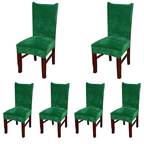 Smiry Velvet Stretch Dining Room Chair Covers Soft Removable Dining Chair Slipcovers Set of 6, Dark Green