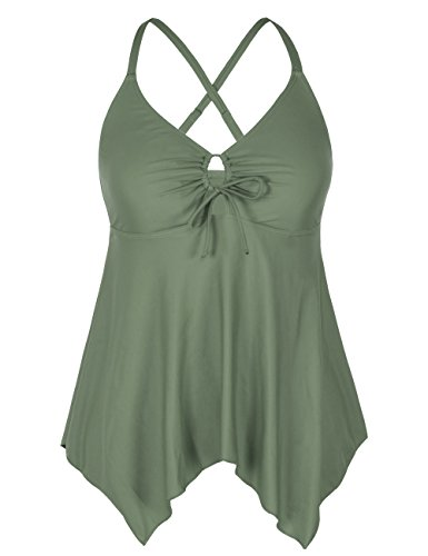 Firpearl Women's Black Floral Flowy Swimsuit Crossback Plus Size Tankini Top US18 Army Green